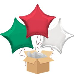 Red, White & Green Stars Balloon Bouquet - Delivered Inflated