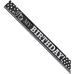 Black & White Foil Birthday Sash