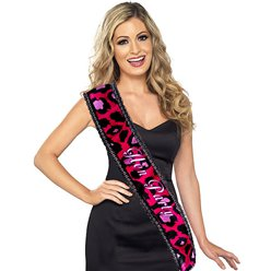 'Hen Party' Pink Animal Print Sash