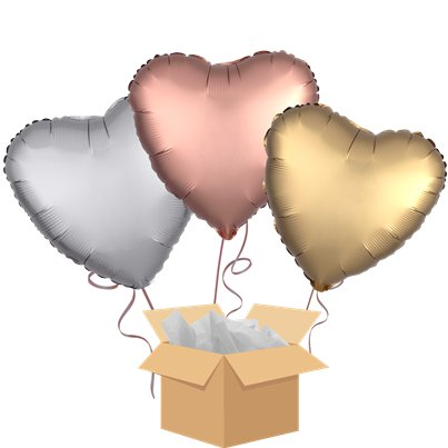 Satin Hearts Balloon Bouquet - Delivered Inflated