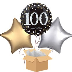 Happy 100th Birthday Gold Balloon Bouquet - Delivered Inflated
