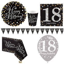 Sparkling Celebration 18th Birthday Party Pack - Deluxe Party Pack For 8