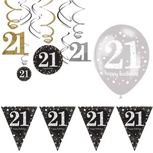 21st Sparkling Celebration Decoration Kit - Value