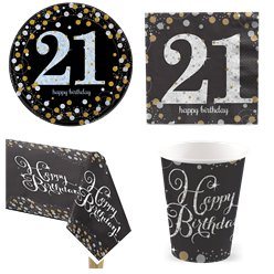 Sparkling Celebration 21st Birthday Party Pack - Value Pack For 8