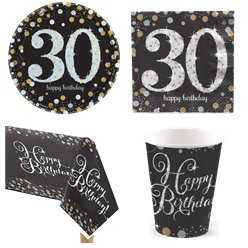 Sparkling Celebration 30th Birthday Party Pack - Value Pack For 8
