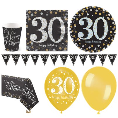 Sparkling Celebration 30th Birthday Party Pack - Deluxe Party Pack For 16