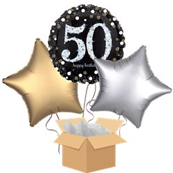 Happy 50th Birthday Gold Balloon Bouquet - Delivered Inflated