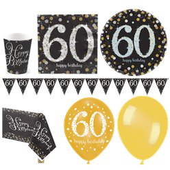 Sparkling Celebration 60th Birthday Party Pack - Deluxe Party Pack For 16