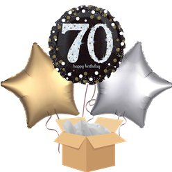 Happy 70th Birthday Gold Balloon Bouquet - Delivered Inflated