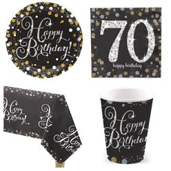 Sparkling Celebration 70th Birthday Party Pack - Value Pack For 8