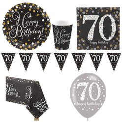 Sparkling Celebration 70th Birthday Party Pack - Deluxe Pack for 8