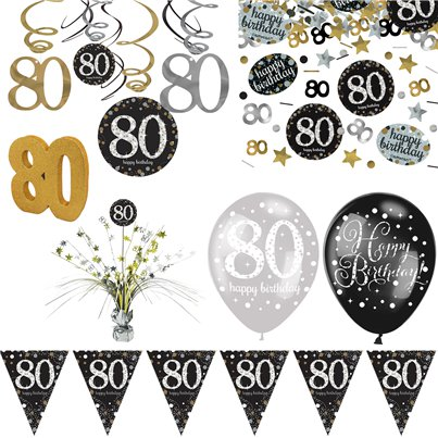 80th Sparkling Celebration Decoration Kit - Deluxe