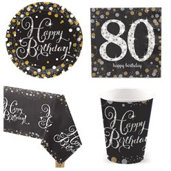 Sparkling Celebration 80th Birthday Party Pack - Value Pack For 8