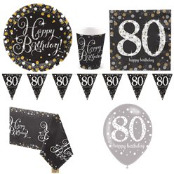Sparkling Celebration 80th Birthday Party Pack - Deluxe Pack for 8