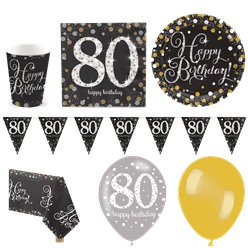 Sparkling Celebration 80th Birthday Party Pack - Deluxe Pack for 16