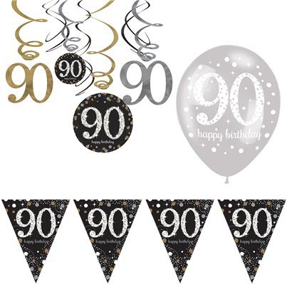 90th Sparkling Celebration Decoration Kit - Value