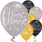 "Happy Birthday Gold Mix Sparkling Celebration Balloons - 11"" Latex"