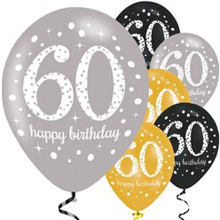 "Happy 60th Birthday Gold Mix Sparkling Celebration Balloons - 11"" Latex"