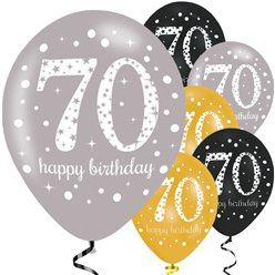"Happy 70th Birthday Gold Mix Sparkling Celebration Balloons - 11"" Latex"