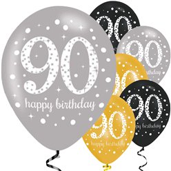 "Happy 90th Birthday Gold Mix Sparkling Celebration Balloons - 11"" Latex"