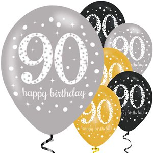 Happy 90th Birthday Gold Mix Sparkling Celebration Balloons - 11