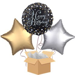 Happy Birthday Gold Balloon Bouquet - Delivered Inflated