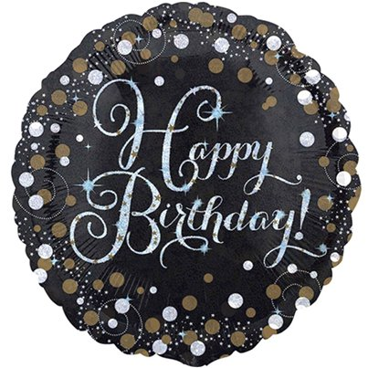 "Happy Birthday Gold Sparkling Celebration Balloon - 18"" Foil"