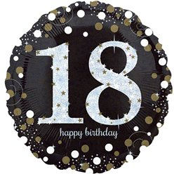 "Happy 18th Birthday Gold Sparkling Celebration Balloon - 18"" Foil"