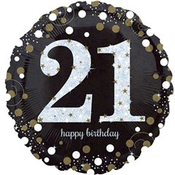 "Happy 21st Birthday Gold Sparkling Celebration Balloon - 18"" Foil"