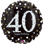 "Happy 40th Birthday Gold Sparkling Celebration Balloon - 18"" Foil"