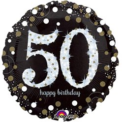 "Happy 50th Birthday Gold Sparkling Celebration Balloon - 18"" Foil"