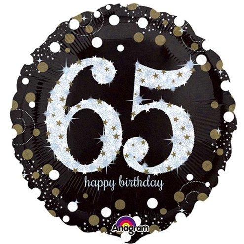 Happy 65th Birthday Gold Sparkling Celebration Balloon