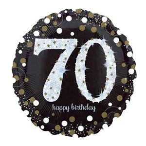 Happy 70th Birthday Gold Sparkling Celebration Balloon - 18