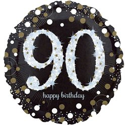 "Happy 90th Birthday Gold Sparkling Celebration Balloon - 18"" Foil"
