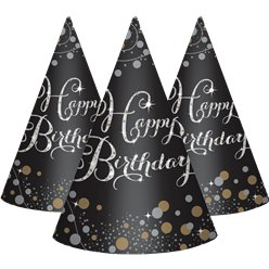 Sparkling Celebration Happy Birthday Cone Hats