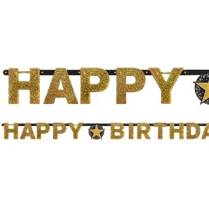 Gold Sparkling Celebration Happy Birthday Holographic Letter Banner - 2.1m