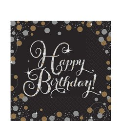 Gold Sparkling Celebration Happy Birthday Luncheon Napkins - 2ply Paper