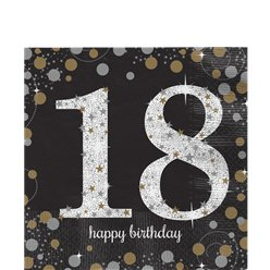 Sparkling Celebration Age 18 Lunch Napkins - 33cm