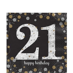 Sparkling Celebration Age 21 Lunch Napkins - 2ply Paper