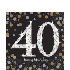 Sparkling Celebration Age 40 Lunch Napkins - 2ply Paper