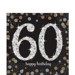 Sparkling Celebration Age 60 Lunch Napkins - 2ply Paper