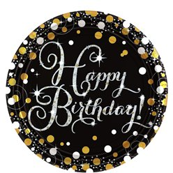 Sparkling Celebration Happy Birthday Prismatic Plates - 23cm Paper Party Plates