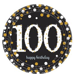 Sparkling Celebration Age 100 Plates - 23cm Paper Party Plates