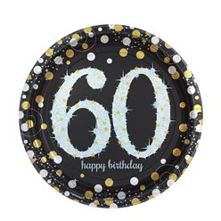Sparkling Celebration Age 60 Plates - 23cm Paper Party Plates