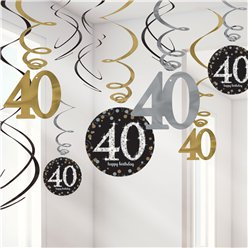 Sparkling Celebration Age 40 Hanging Swirls - 45cm