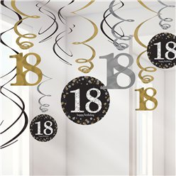 Sparkling Celebration Age 18 Hanging Swirls - 45cm