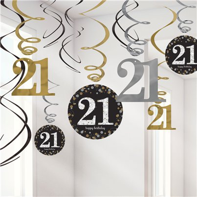 Sparkling Celebration Age 21 Hanging Swirls - 45cm
