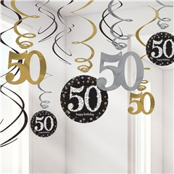 Sparkling Celebration Age 50 Hanging Swirls - 45cm