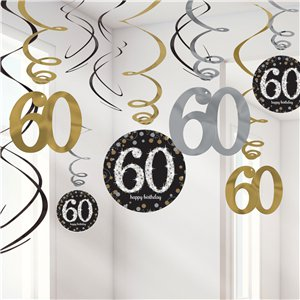 Sparkling Celebration Age 60 Hanging Swirls - 45cm