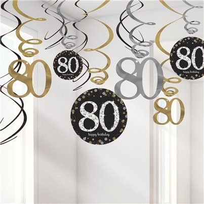 Sparkling Celebration Age 80 Hanging Swirls - 45cm